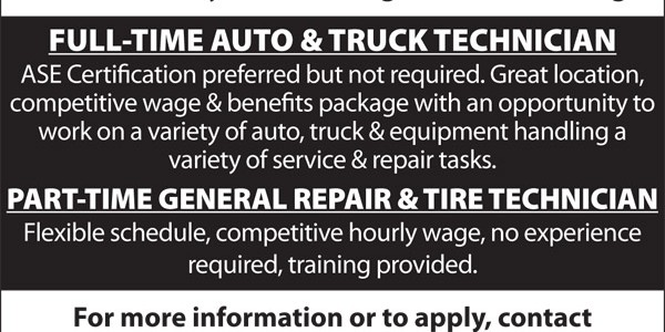 HELP WANTED at Mid-County Auto, Truck & Tire