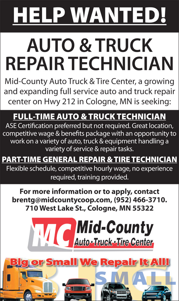 Help Wanted At Mid County Auto Truck Tire Mid County Coop