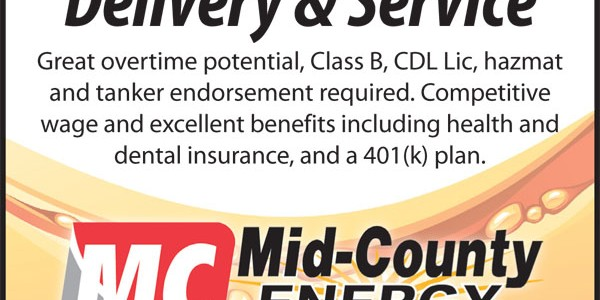 DRIVER WANTED at Mid-County Energy