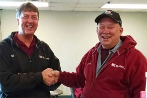 Bill Reimers, General Manager at Mid-County congratulating Dale on his 30 years of service!